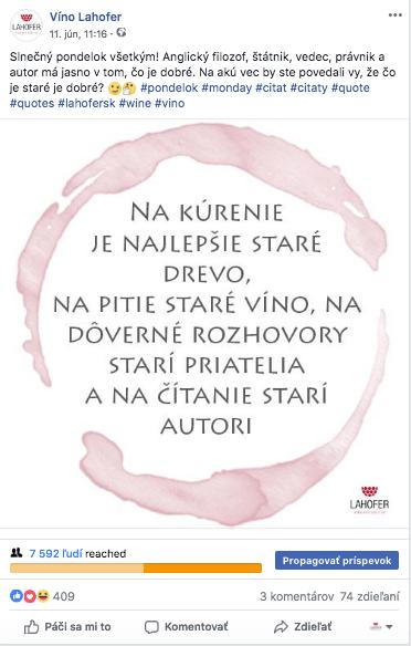 Pondelkový citát o víne, pripravený pre Facebook komunikáciu Lahofer.sk.